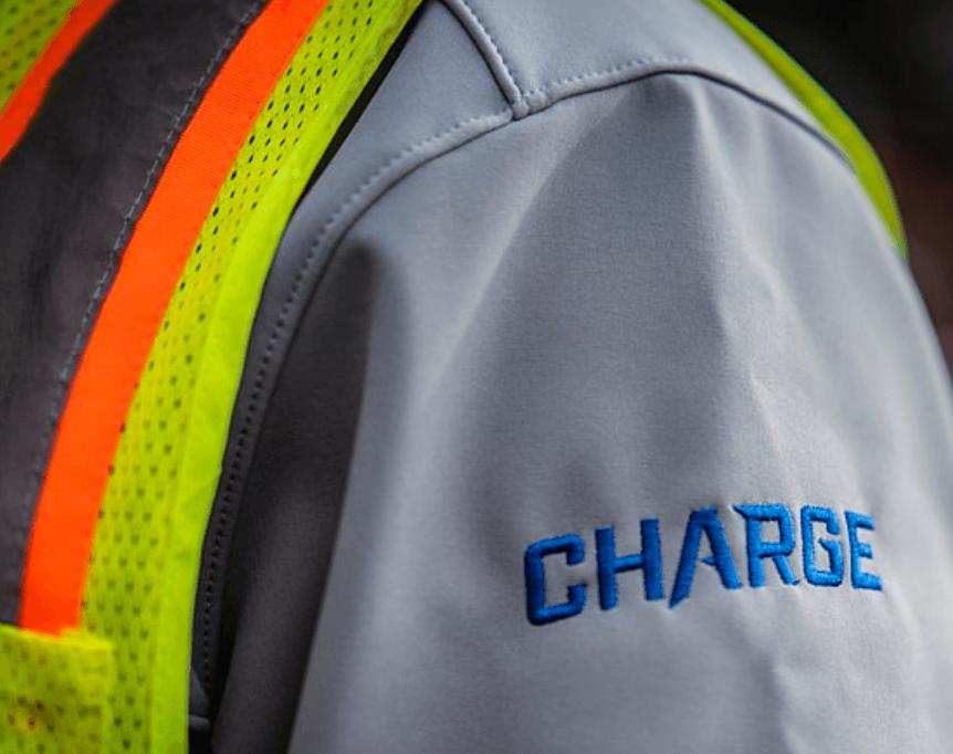 Charge logo on shirt sleeve